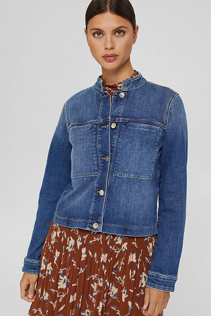 Giacca di jeans con bottoni con monogramma, cotone biologico
