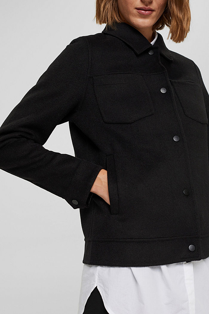 Recycelt: Woll-Mix Jacke, BLACK, detail image number 2