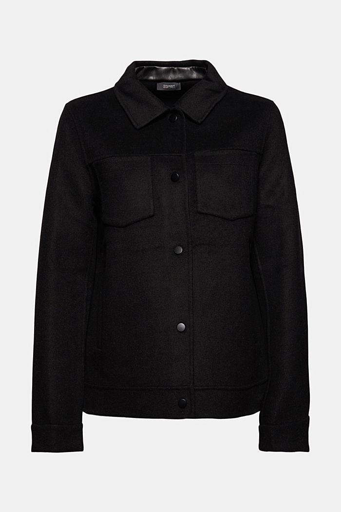 Recycelt: Woll-Mix Jacke, BLACK, detail image number 5