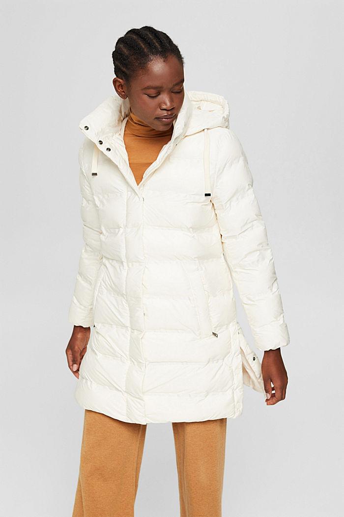 Gerecycled: gewatteerde mantel met afneembare capuchon, ICE, detail image number 0