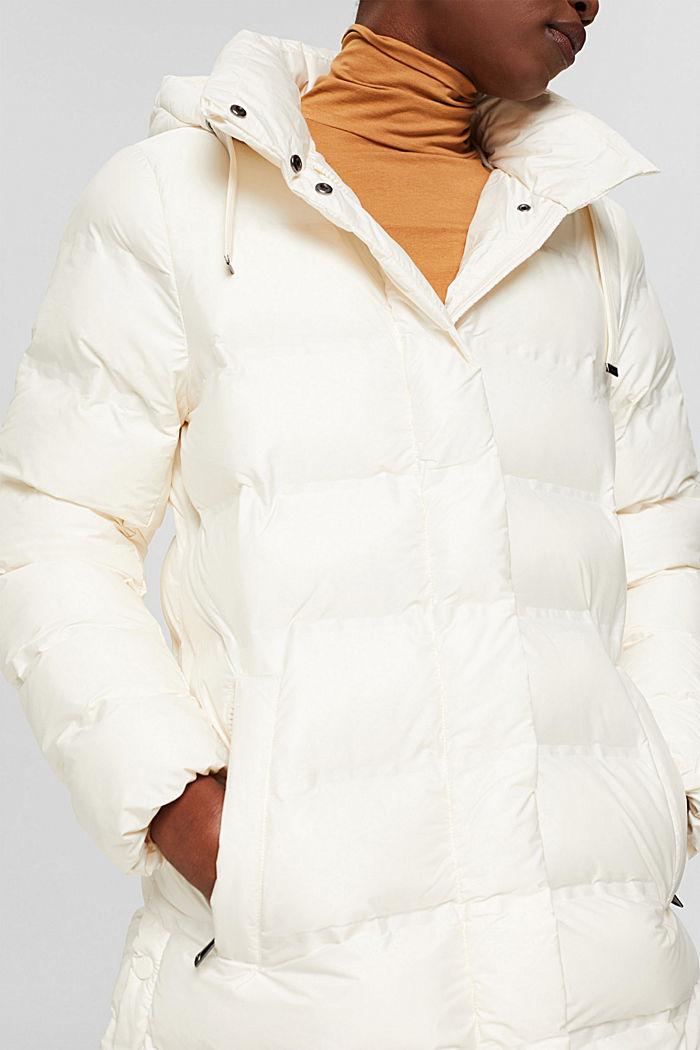 Gerecycled: gewatteerde mantel met afneembare capuchon, ICE, detail image number 2