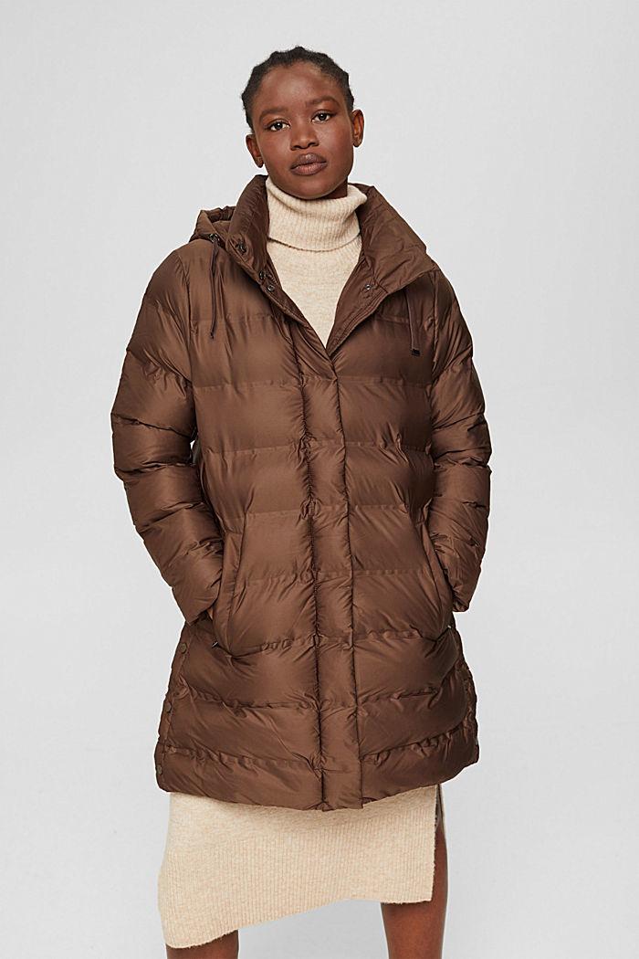 En matière recyclée: le manteau matelassé à capuche amovible, DARK BROWN, detail image number 0