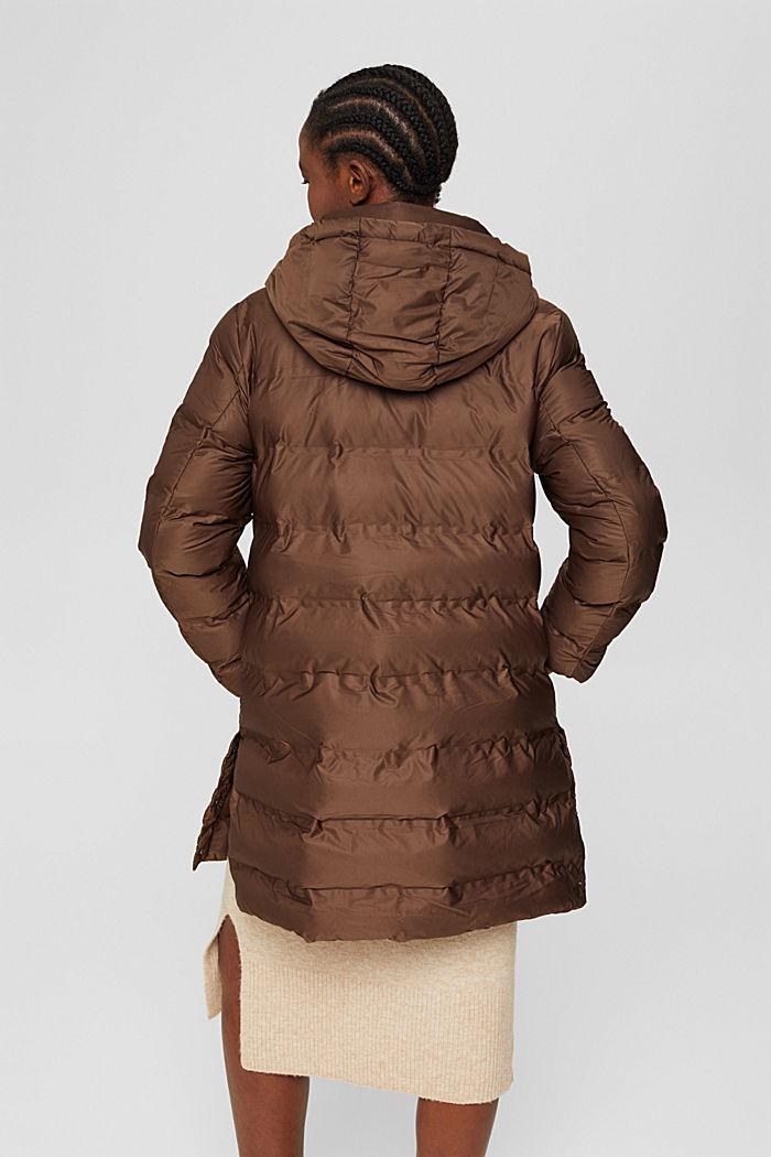 En matière recyclée: le manteau matelassé à capuche amovible, DARK BROWN, detail image number 3