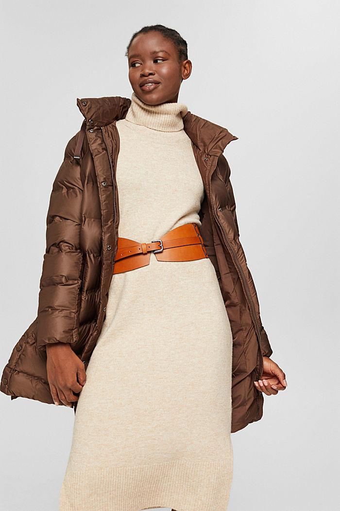 En matière recyclée: le manteau matelassé à capuche amovible, DARK BROWN, detail image number 5