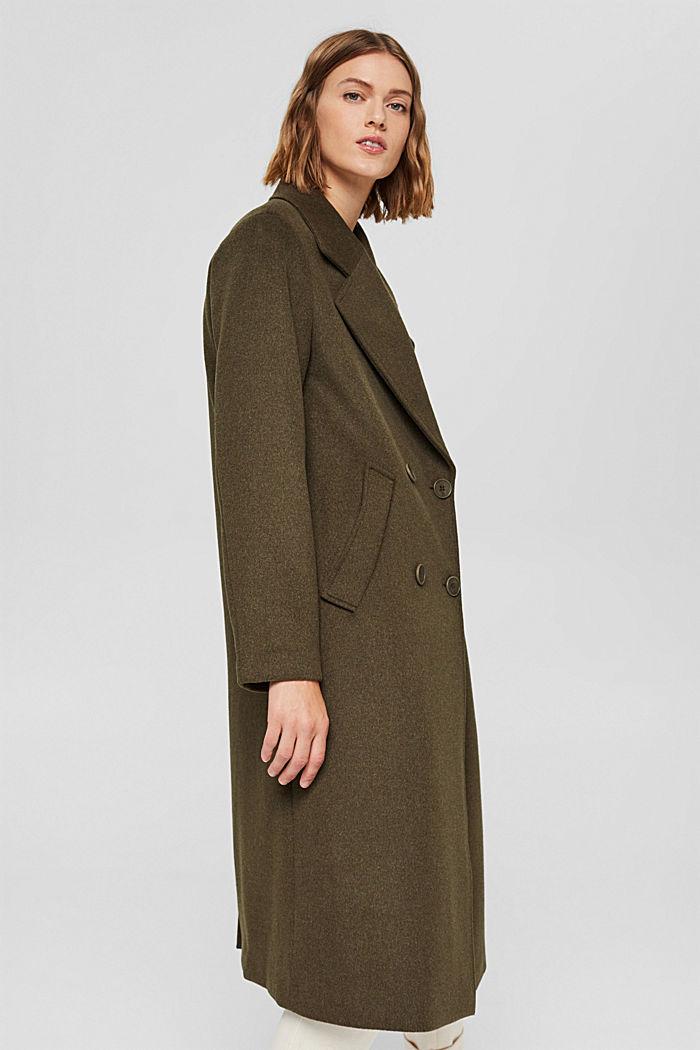 Gerecycled: oversized mantel van een wolmix, DARK KHAKI, detail image number 5