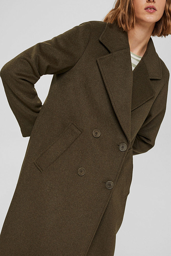 Gerecycled: oversized mantel van een wolmix, DARK KHAKI, detail image number 2
