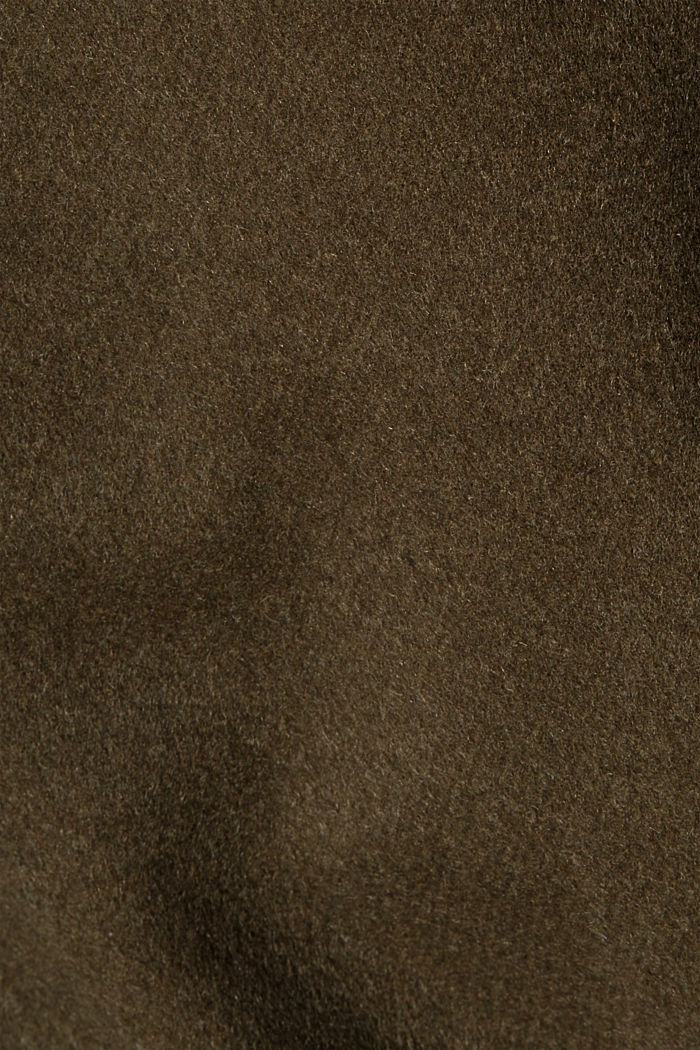 Gerecycled: oversized mantel van een wolmix, DARK KHAKI, detail image number 4