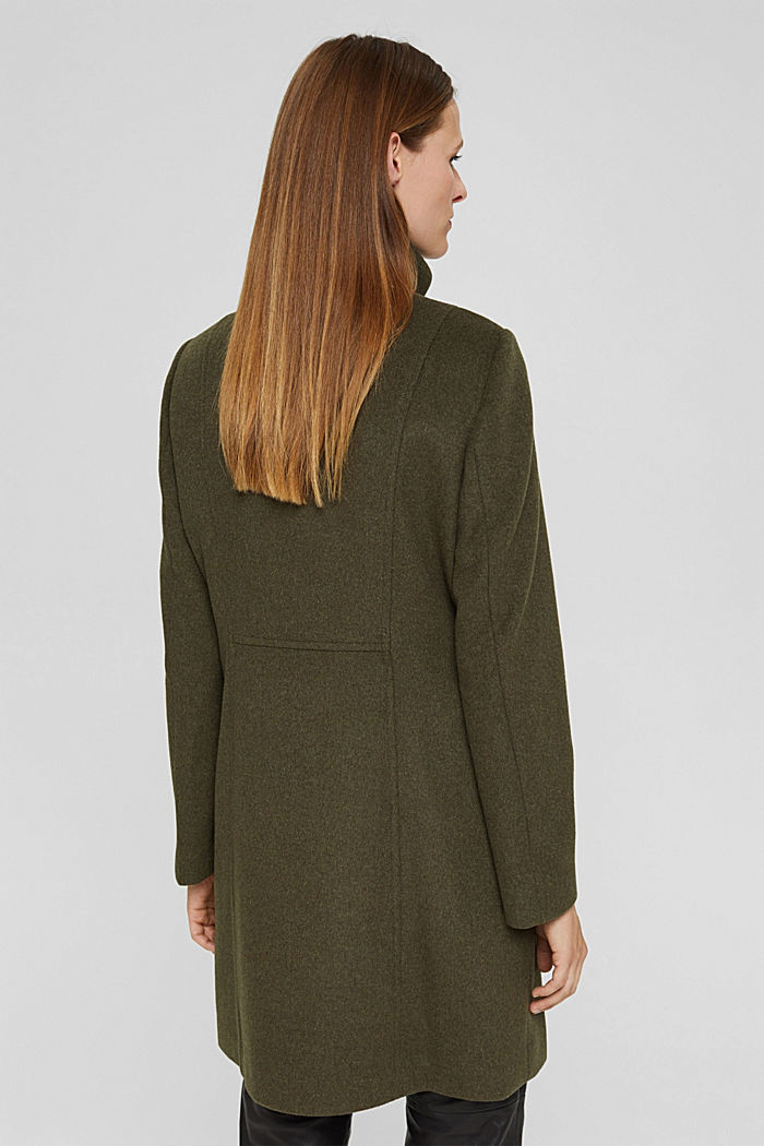 Recycled: wool coat with a stand-up collar, DARK KHAKI, detail image number 3