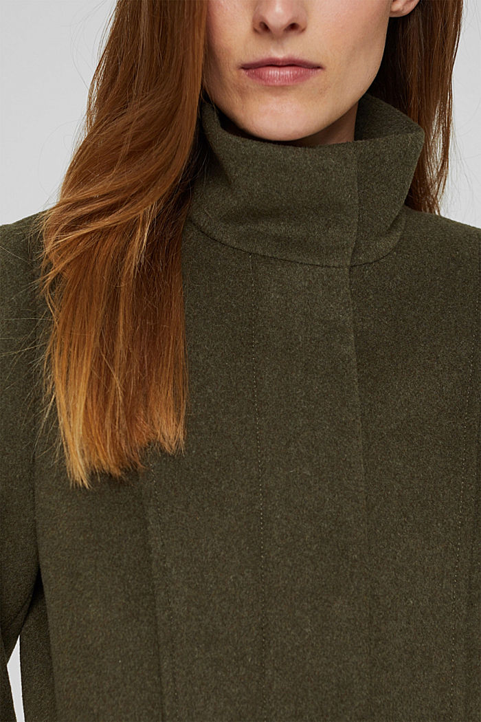 Recycled: wool coat with a stand-up collar, DARK KHAKI, detail image number 2