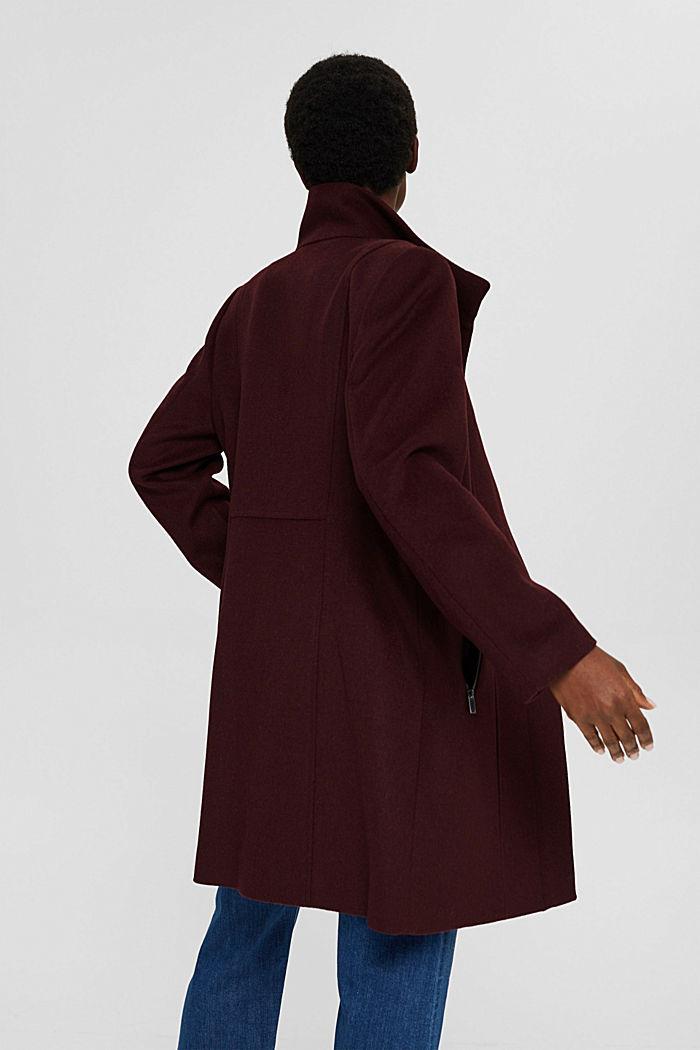Gerecycled: mantel met rits, van een wolmix, BORDEAUX RED, detail image number 3