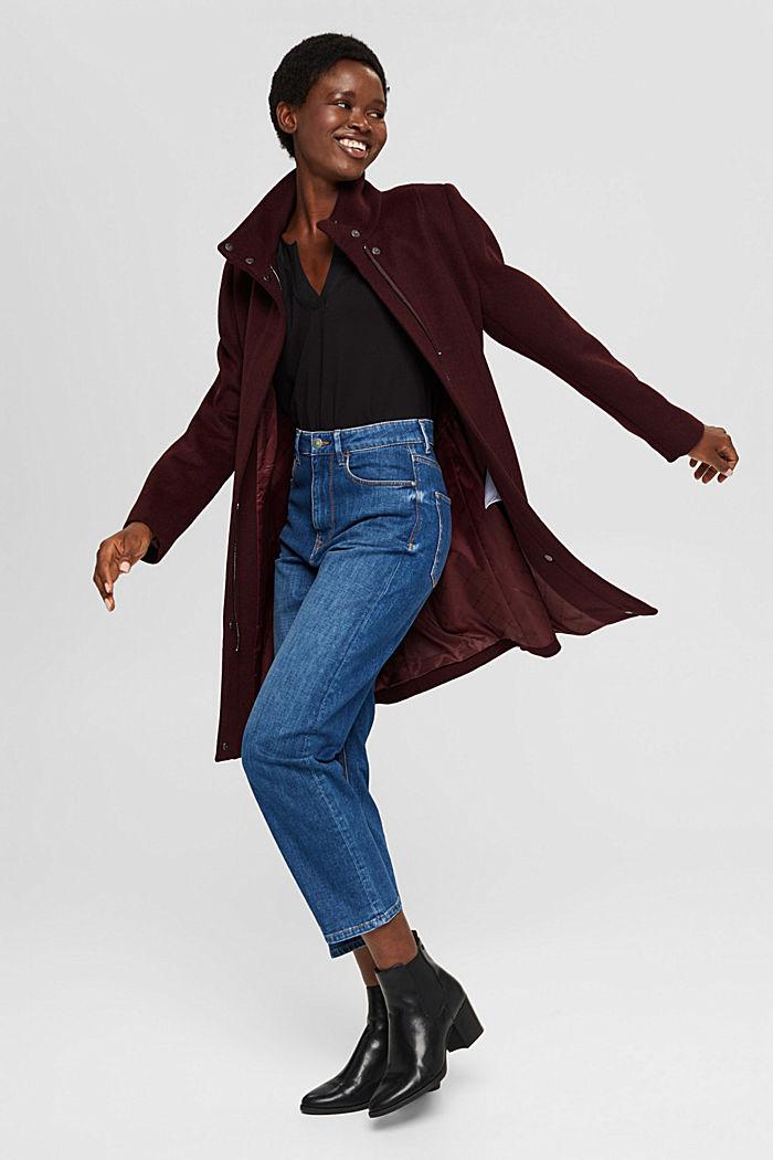 En matières recyclées: le manteau zippé en laine mélangée