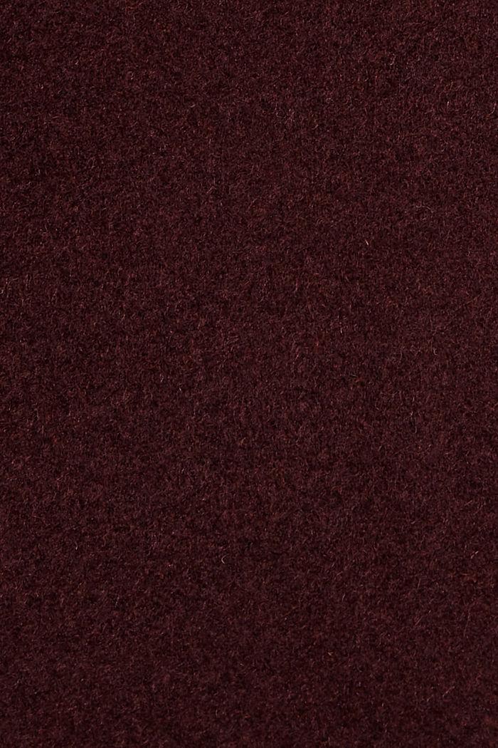 Gerecycled: mantel met rits, van een wolmix, BORDEAUX RED, detail image number 4