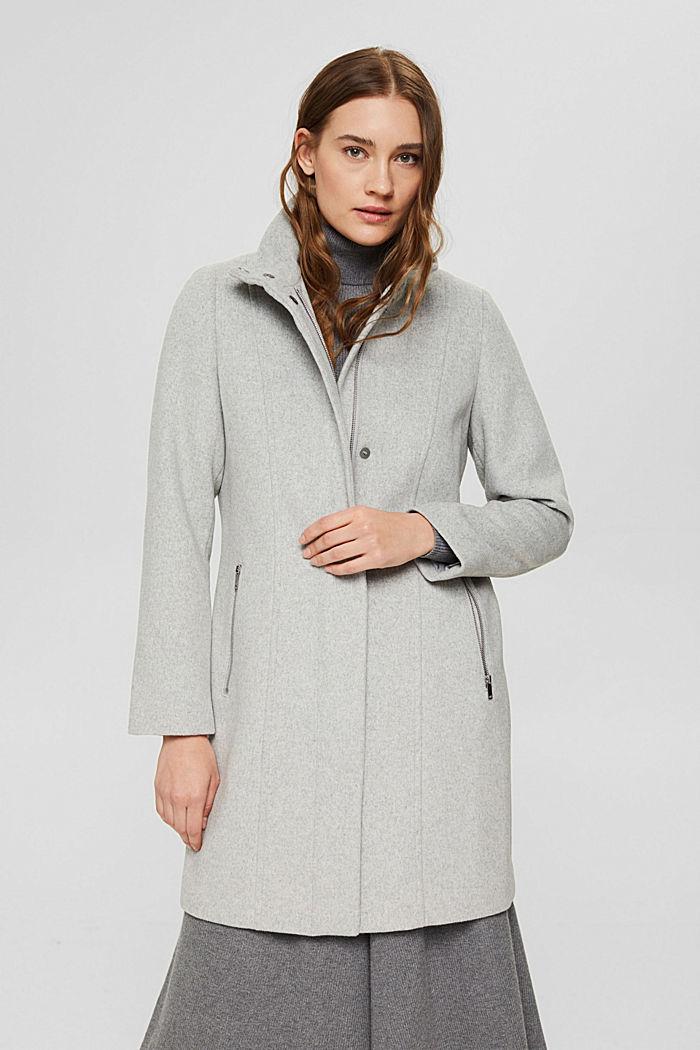 Recycelter Woll-Mix: Mantel mit Reißverschluss, LIGHT GREY, detail image number 0