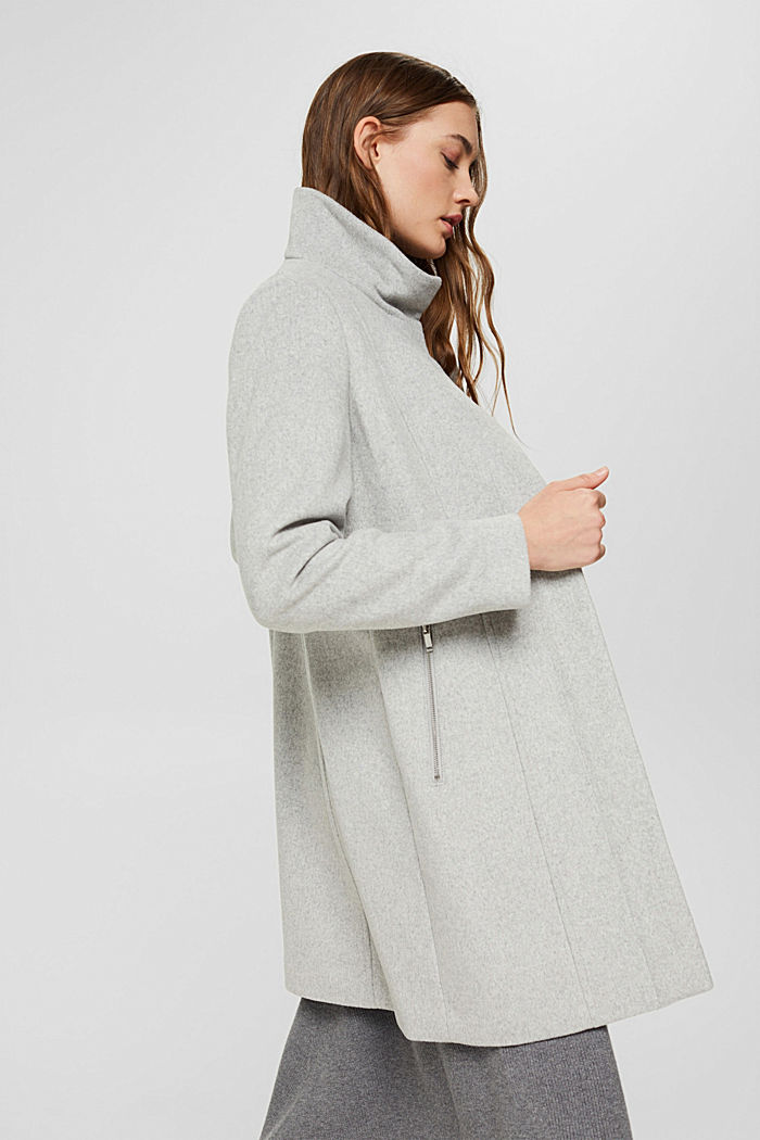 Recycelter Woll-Mix: Mantel mit Reißverschluss, LIGHT GREY, detail image number 3