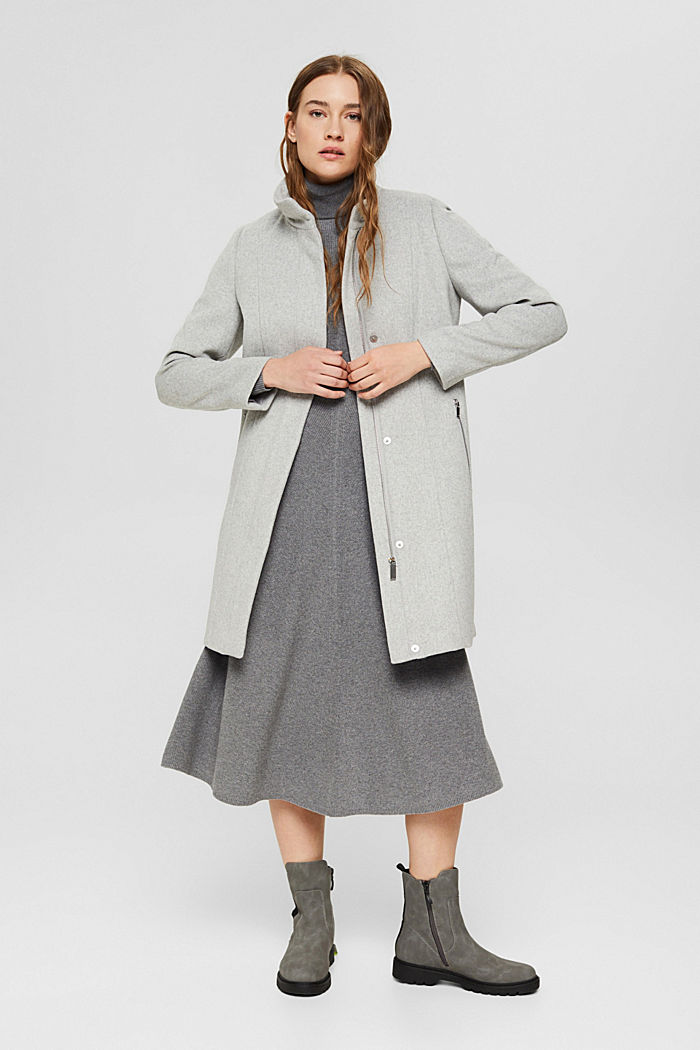 Recycelter Woll-Mix: Mantel mit Reißverschluss, LIGHT GREY, detail image number 6