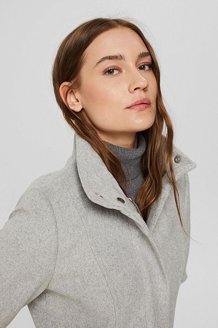 Recycelter Woll-Mix: Mantel mit Reißverschluss, LIGHT GREY, detail image number 5