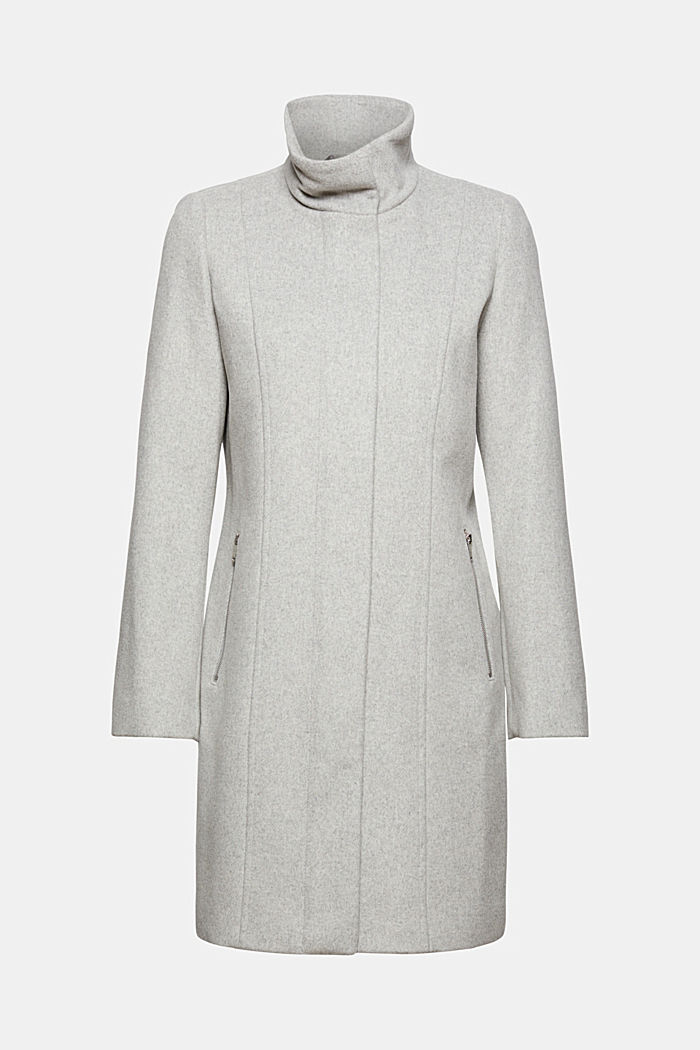 Recycelter Woll-Mix: Mantel mit Reißverschluss, LIGHT GREY, detail image number 7