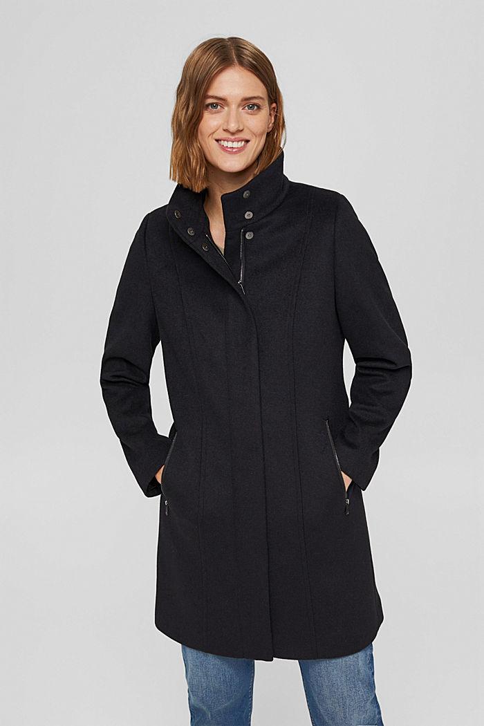 En matières recyclées: le manteau zippé en laine mélangée, BLACK, detail image number 0