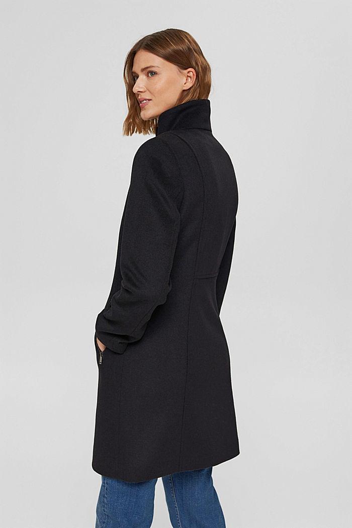 En matières recyclées: le manteau zippé en laine mélangée, BLACK, detail image number 3