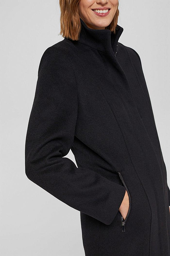 En matières recyclées: le manteau zippé en laine mélangée, BLACK, detail image number 2
