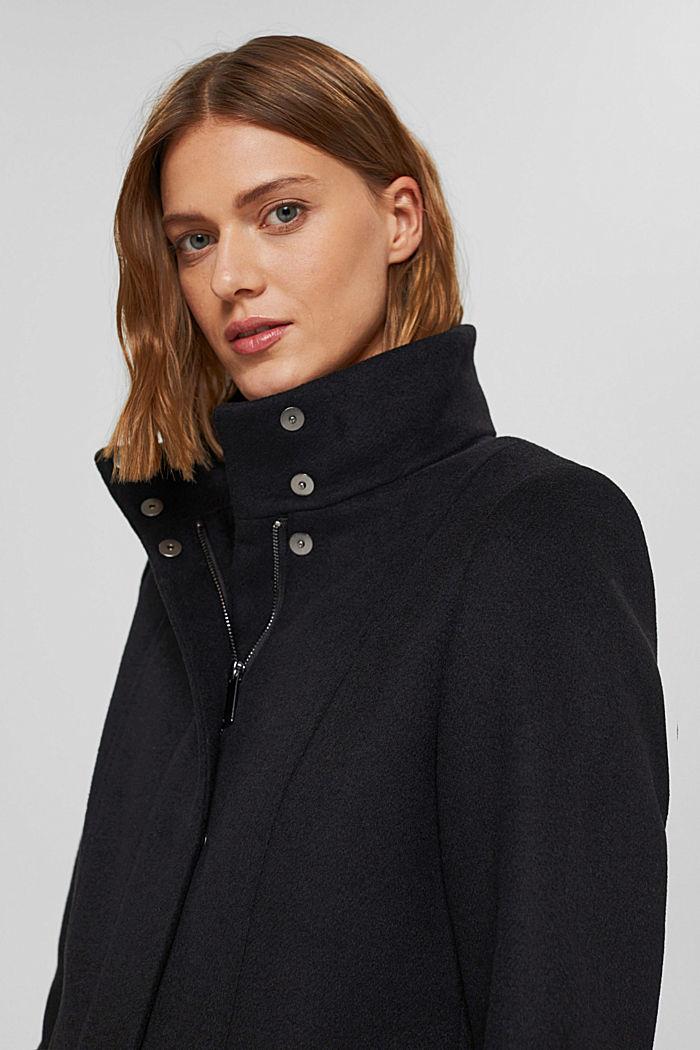 En matières recyclées: le manteau zippé en laine mélangée, BLACK, detail image number 5