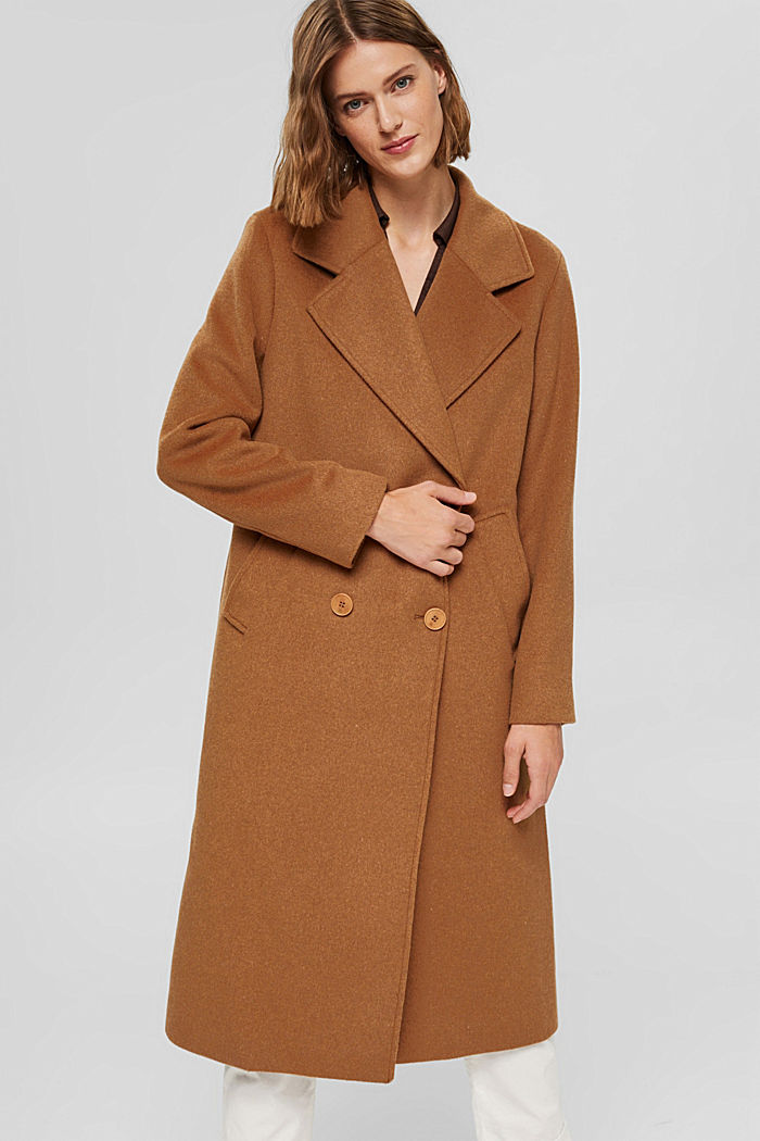 En matière recyclée: le manteau oversize en laine mélangée, CARAMEL, detail image number 0