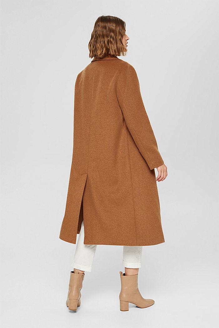 En matière recyclée: le manteau oversize en laine mélangée, CARAMEL, detail image number 3