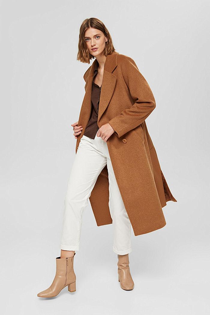 En matière recyclée: le manteau oversize en laine mélangée, CARAMEL, detail image number 1