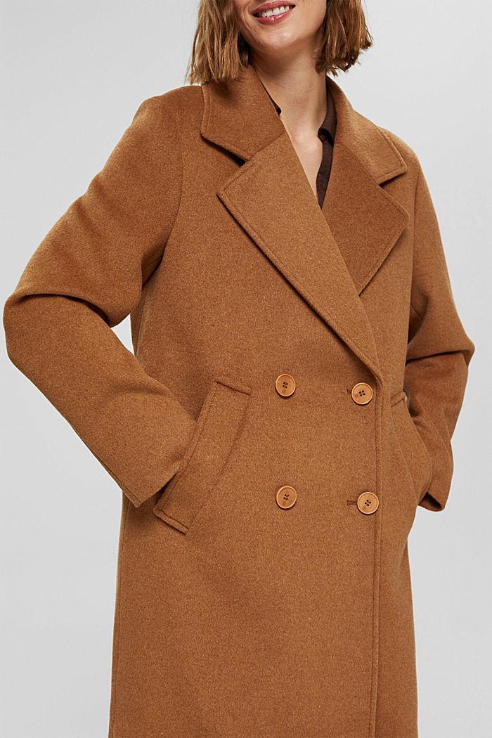 En matière recyclée: le manteau oversize en laine mélangée, CARAMEL, detail image number 2