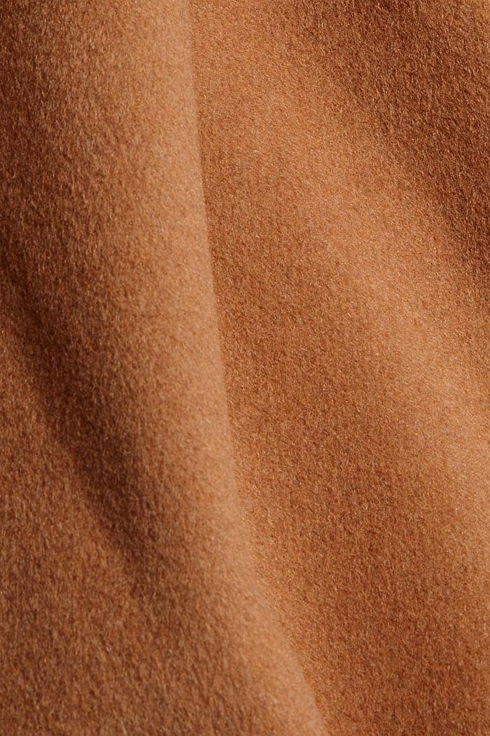 En matière recyclée: le manteau oversize en laine mélangée, CARAMEL, detail image number 4