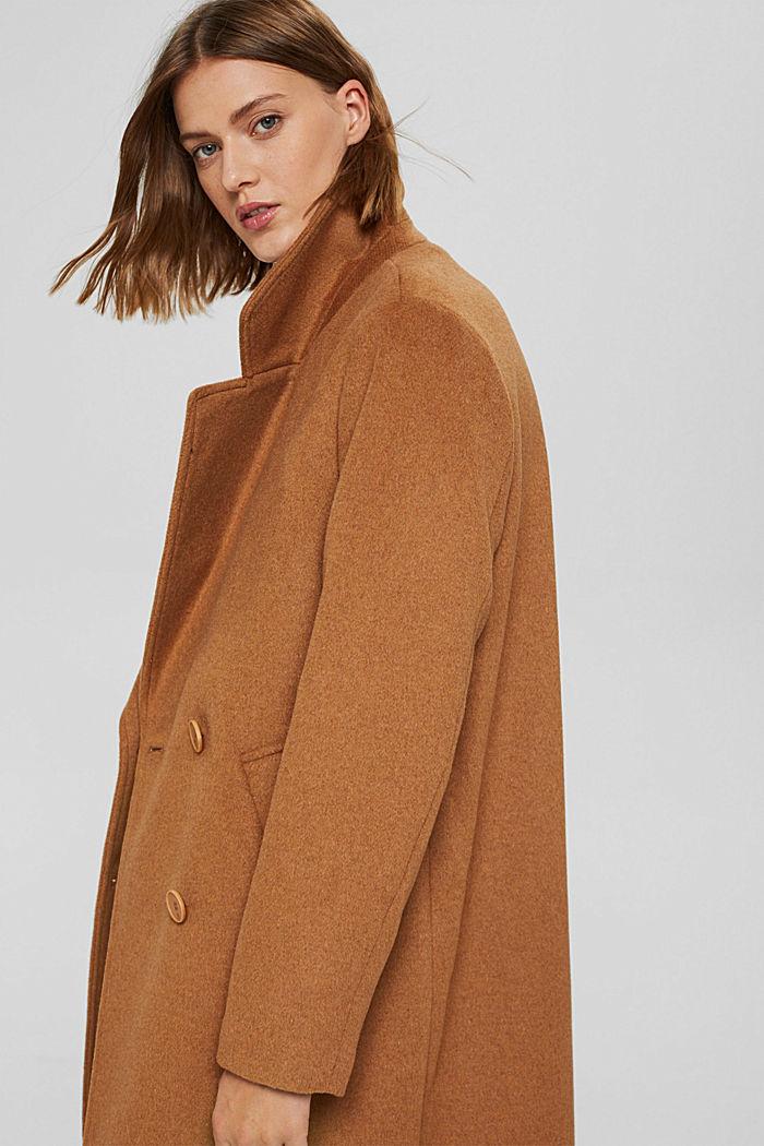 En matière recyclée: le manteau oversize en laine mélangée, CARAMEL, detail image number 6