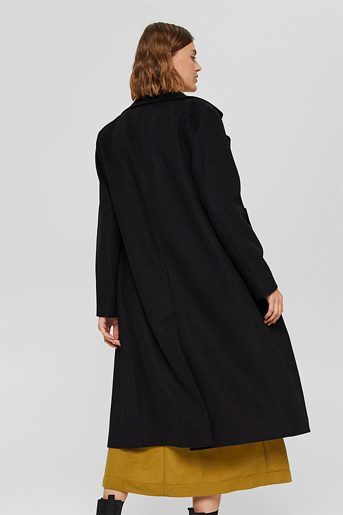 Recycelt: Woll-Mix Oversize-Mantel, BLACK, detail image number 3