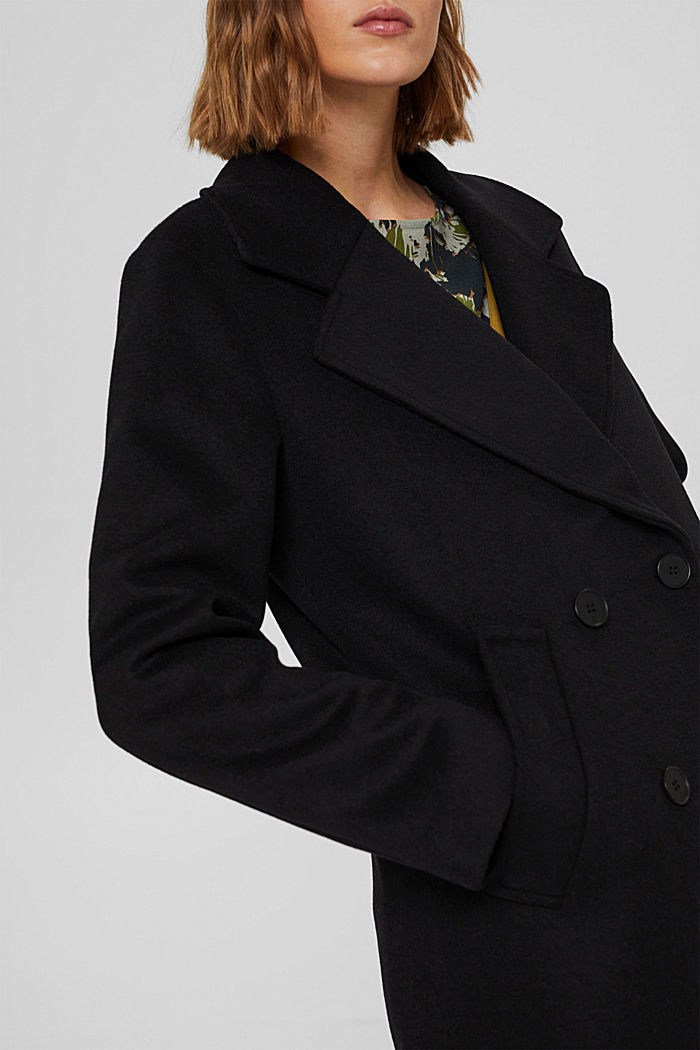 Recycelt: Woll-Mix Oversize-Mantel, BLACK, detail image number 2