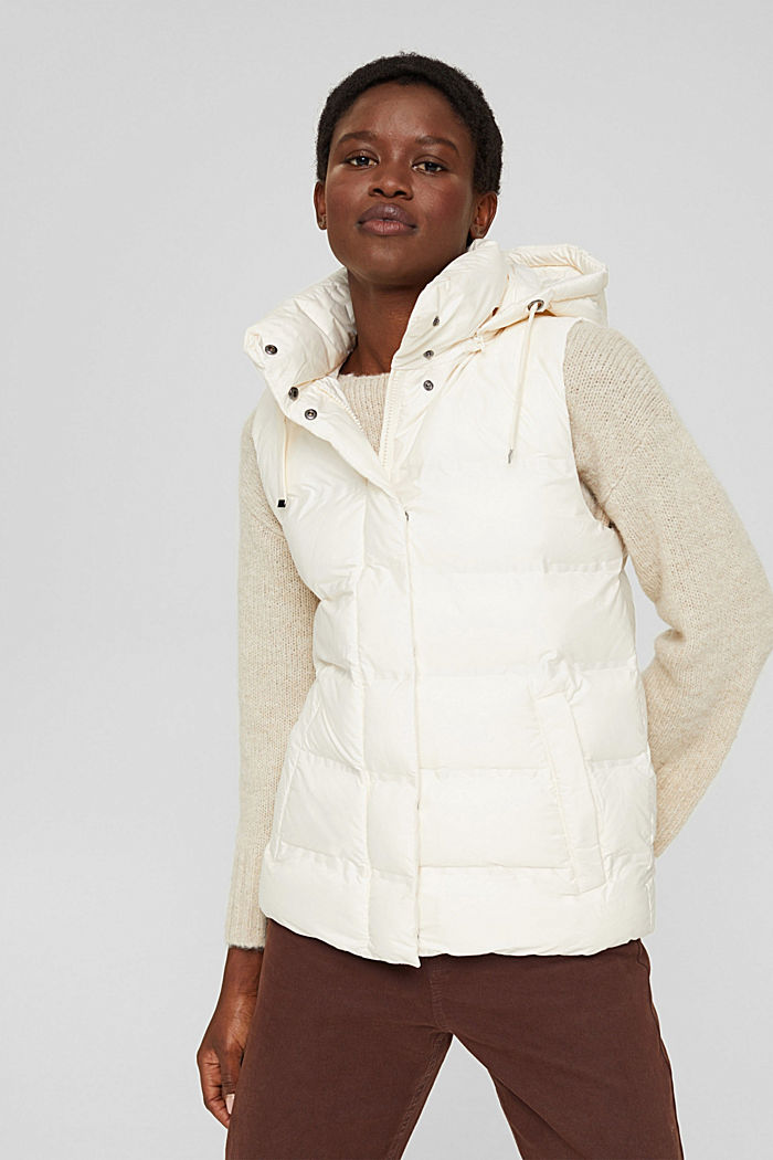 Recycled: quilted body warmer with a variable hood, ICE, detail image number 0