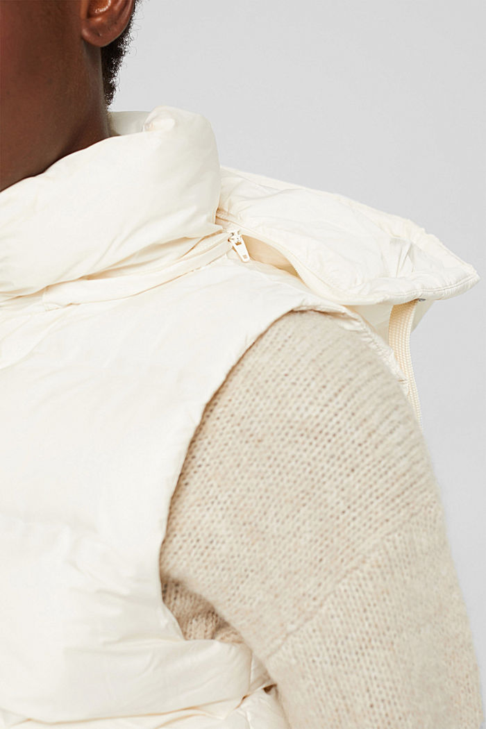 Recycled: quilted body warmer with a variable hood, ICE, detail image number 2