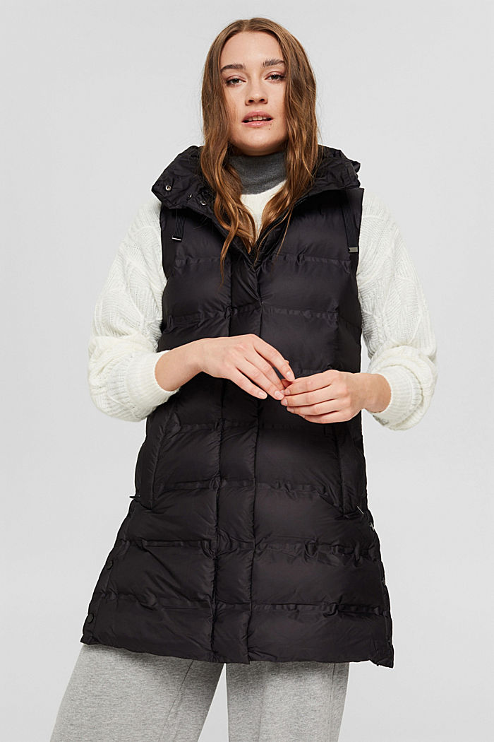 Recycled: long quilted body warmer with an adjustable hood, BLACK, detail image number 0