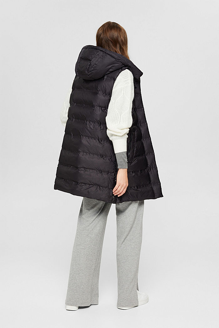 Recycled: long quilted body warmer with an adjustable hood, BLACK, detail image number 3