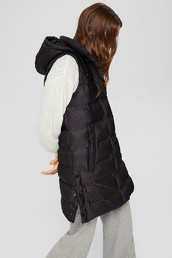 Recycled: long quilted body warmer with an adjustable hood, BLACK, detail image number 5