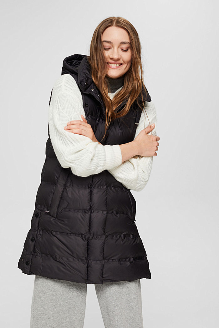 Recycled: long quilted body warmer with an adjustable hood