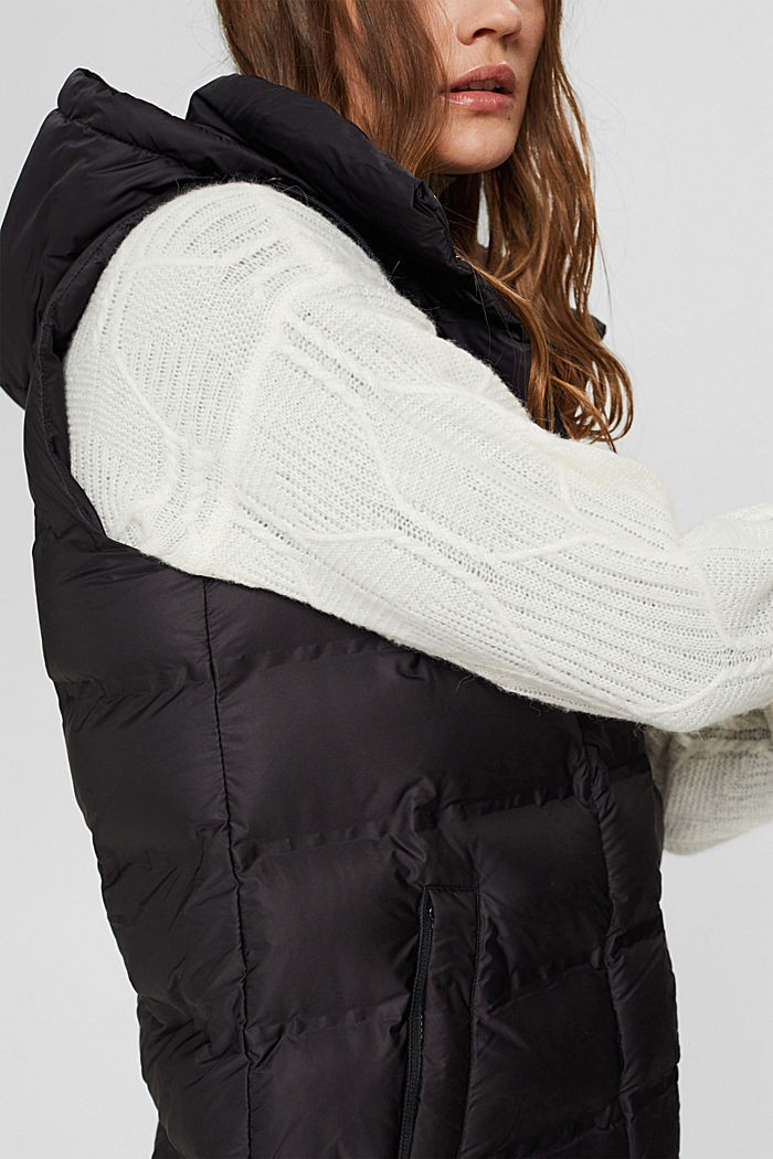 Recycled: long quilted body warmer with an adjustable hood, BLACK, detail image number 2