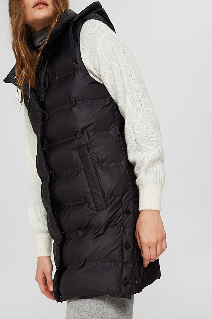 Recycled: long quilted body warmer with an adjustable hood, BLACK, detail image number 6
