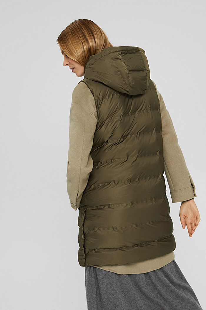 Recycled: long quilted body warmer with an adjustable hood, DARK KHAKI, detail image number 3