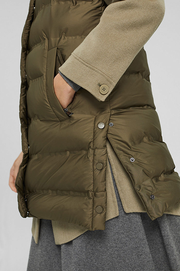 Recycled: long quilted body warmer with an adjustable hood, DARK KHAKI, detail image number 2