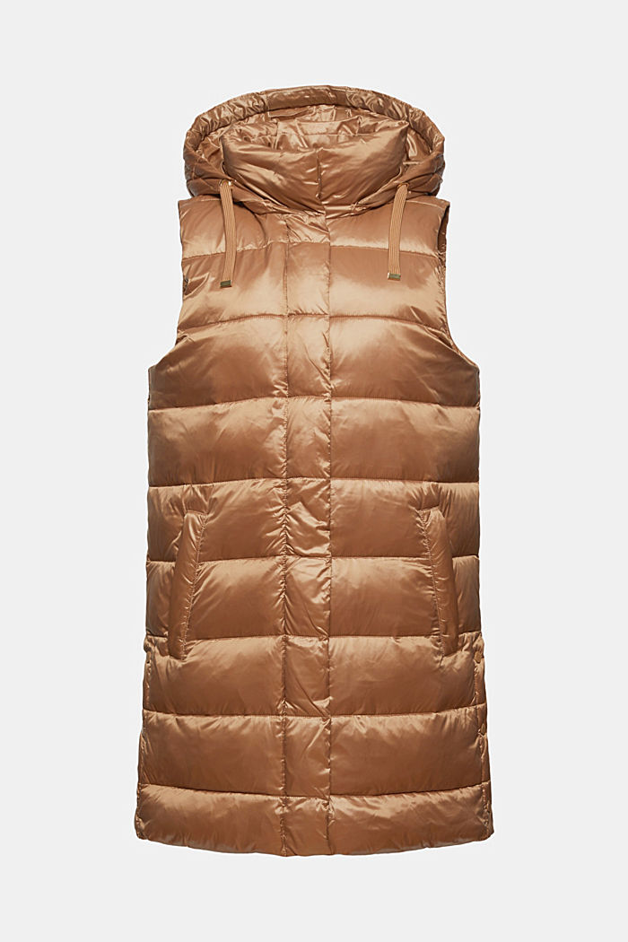 Recycled: long quilted body warmer with a sheen