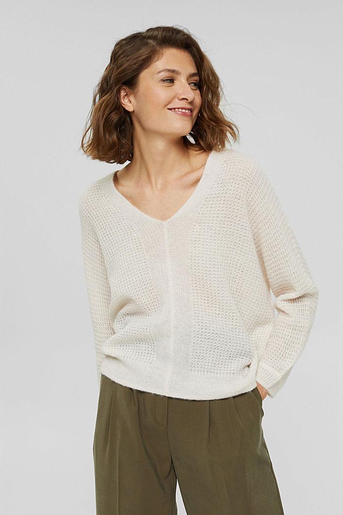 Mit Alpaka/Wolle: Pullover mit V-Ausschnitt