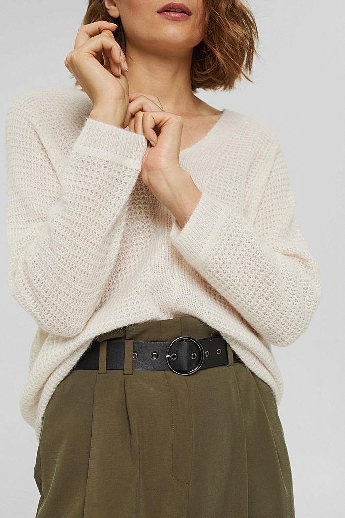 Mit Alpaka/Wolle: Pullover mit V-Ausschnitt, ICE, detail image number 2