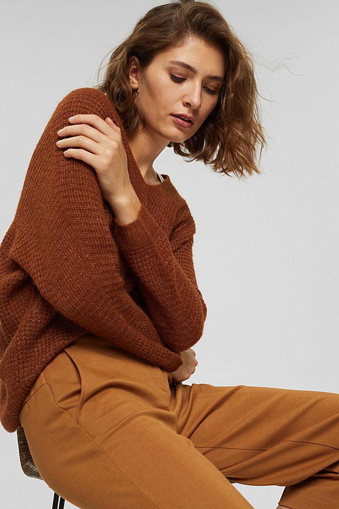 À teneur en laine d'alpaga/laine: le pull-over à encolure en V, TOFFEE, detail image number 0