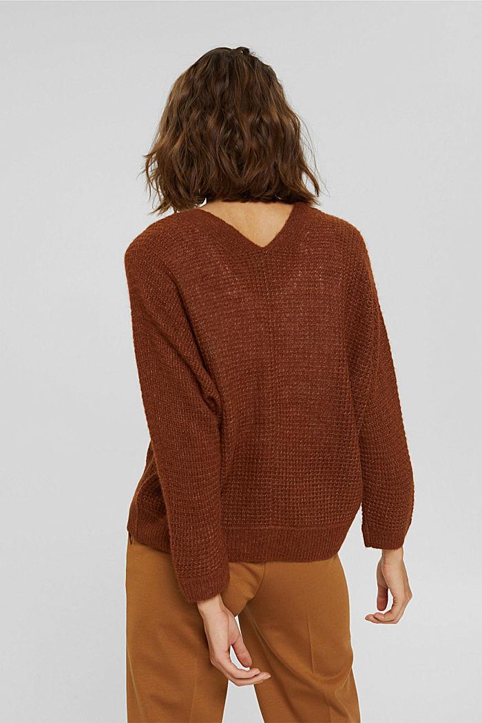 Mit Alpaka/Wolle: Pullover mit V-Ausschnitt, TOFFEE, detail image number 3
