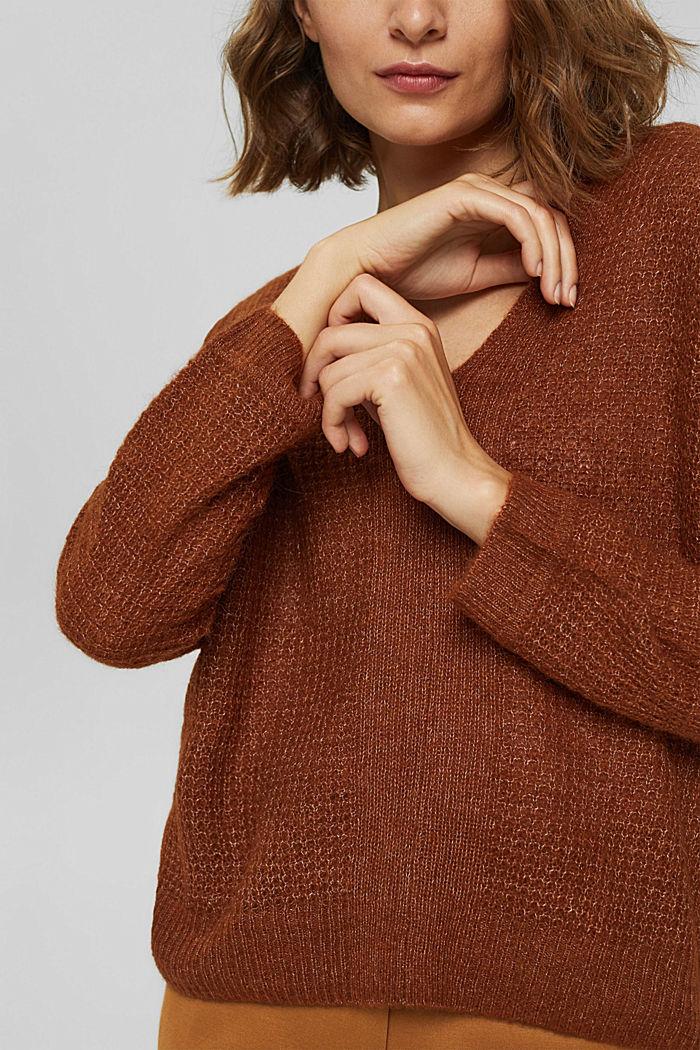 Mit Alpaka/Wolle: Pullover mit V-Ausschnitt, TOFFEE, detail image number 2