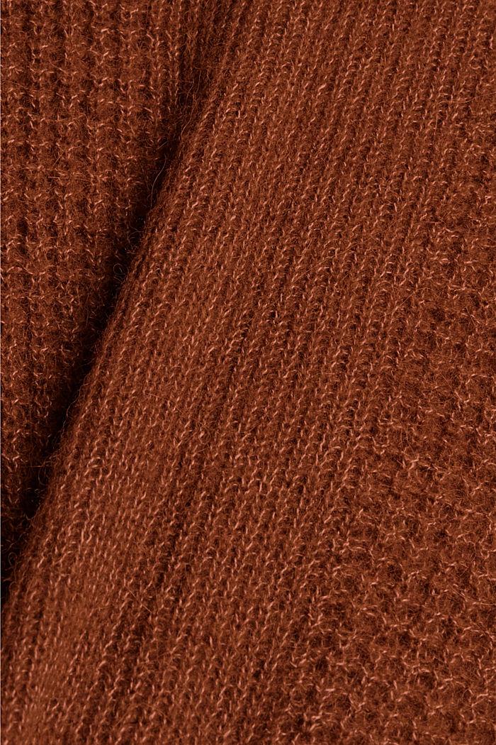 Mit Alpaka/Wolle: Pullover mit V-Ausschnitt, TOFFEE, detail image number 4